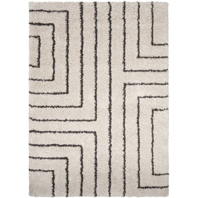Swampscott White & Charcoal Area Rug Rug Size: Rectangle 53 x 76
