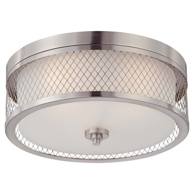 Fusion 3-Light Flush Mount Finish / Glass Color: Brushed Nickel / Frosted