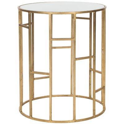 Nasim End Table Color: Gold / White Glass