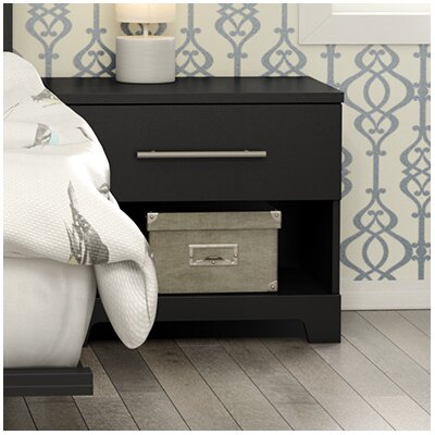 Primo 1 Drawer Nightstand Finish: Black