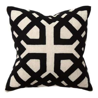 African Mod Kalena Applique Linen Throw Pillow