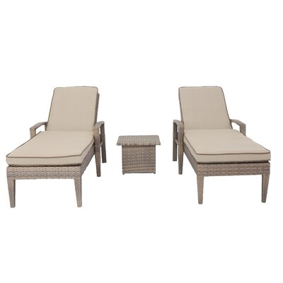 Candor 3 Piece Chaise Lounge Set with Cushions