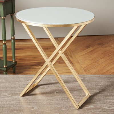 Birrell End Table Color: Gold / White