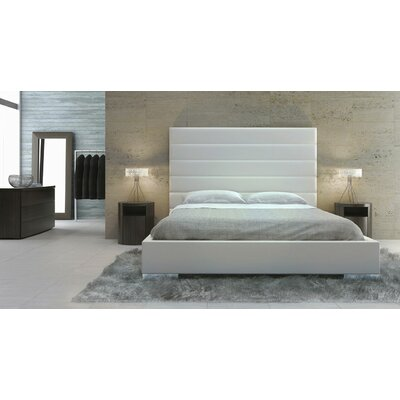 Prince Upholstered Platform Bed Size: California King, Finish: White