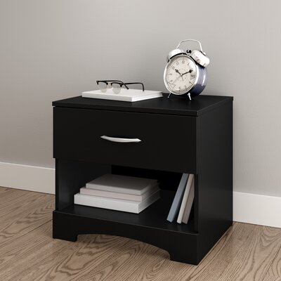 Step One 1 Drawer Nightstand Color: Pure Black