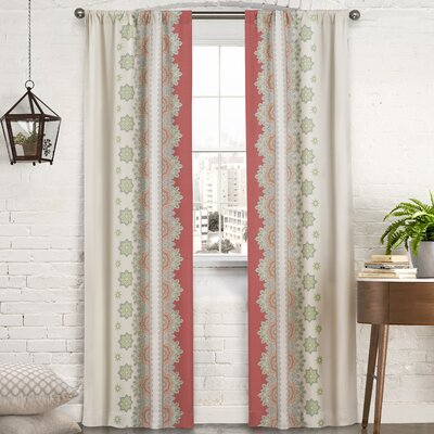 Mantra Floral/Flower Semi-Sheer Rod Pocket Curtain Panels
