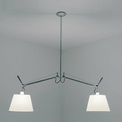 Tolomeo with Shade Double Suspension Ceiling Light Shade Size/Color: Medium - 12/Black