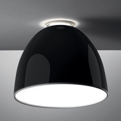 Nur Mini Gloss Ceiling Semi Flush Mount Finish: Black, Bulb Type: 150W Halogen