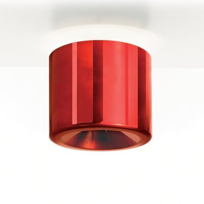 Tet 1-Light Flush Mount Finish: Red