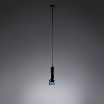 1-Light Inverted Pendant Shade Color: Aqua
