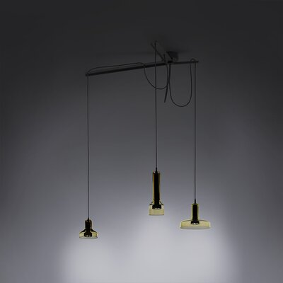 3-Light Cluster Pendant Shade Color: Amber
