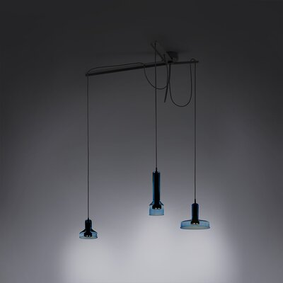3-Light Cluster Pendant Shade Color: Aqua