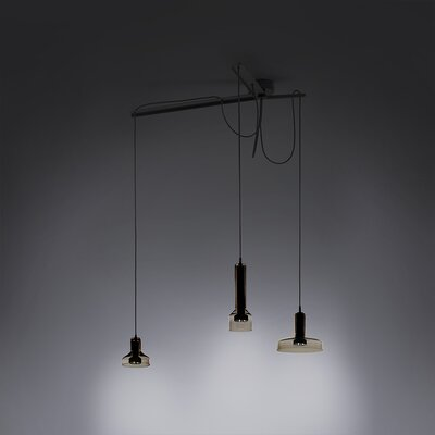 3-Light Cluster Pendant Shade Color: Brown