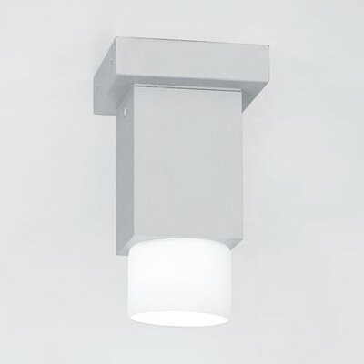 Dupla Flush Mount Shade Color: Grey/ White Glass