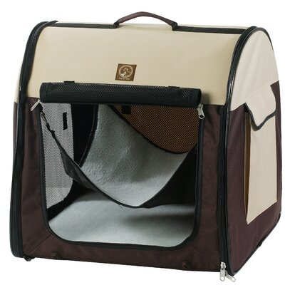 Single Fabric Portable Pet Crate/Carrier Color: Cream / Brown