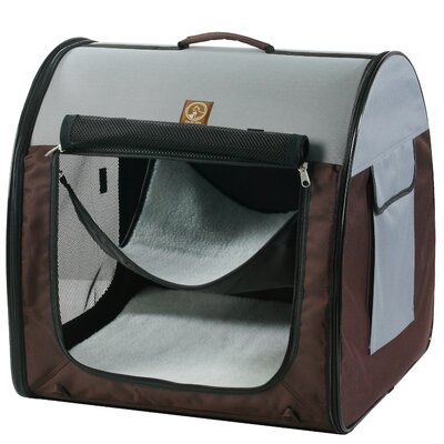 Single Fabric Portable Pet Crate/Carrier Color: Grey / Brown