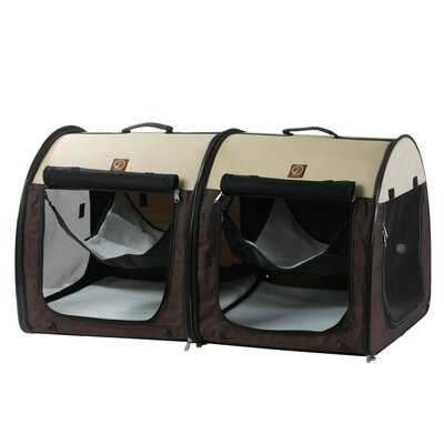 Double Fabric Portable Pet Crate/Carrier Color: Cream / Brown