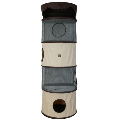 69 Portable Four Story Cat Condo Color: Cream / Brown