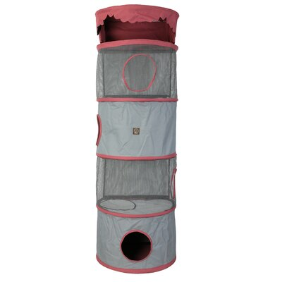 69 Portable Four Story Cat Condo Color: Fuchsia / Grey