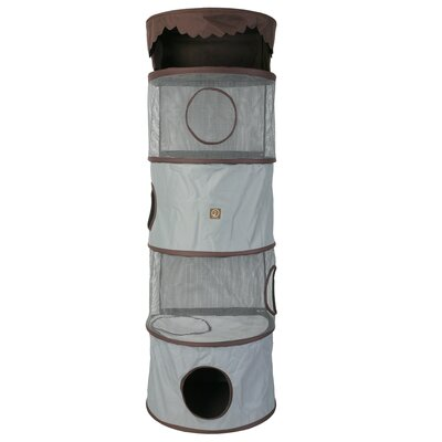 69 Portable Four Story Cat Condo Color: Grey / Brown
