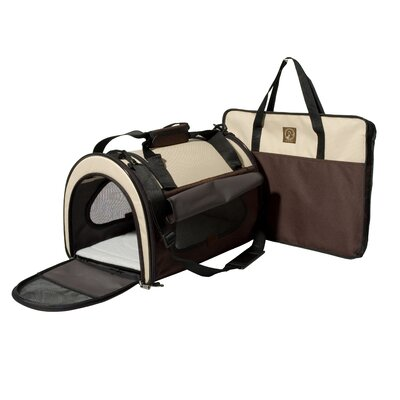 The Dome Folding Pet Carrier Size: Large (11.5 H x 11.5 W x 17.5 L), Color: Cream / Brown