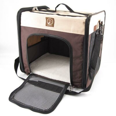 The Cube Folding Pet Carrier Color: Cream / Brown