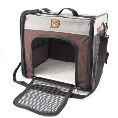 The Cube Folding Pet Carrier Color: Grey / Brown