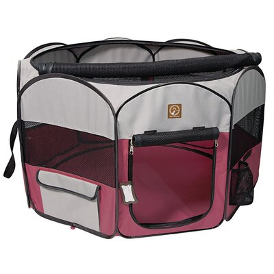 Portable Pet Pen Size: Small (19.5 H x 36 W x 36 D), Color: Fuchsia / Grey