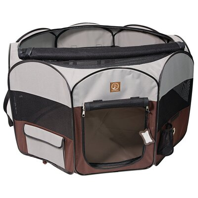 Portable Pet Pen Size: 22 H x 55 W x 55 D, Color: Gray/Brown