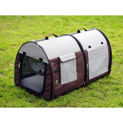 Double Fabric Portable Pet Crate/Carrier Color: Grey / Brown