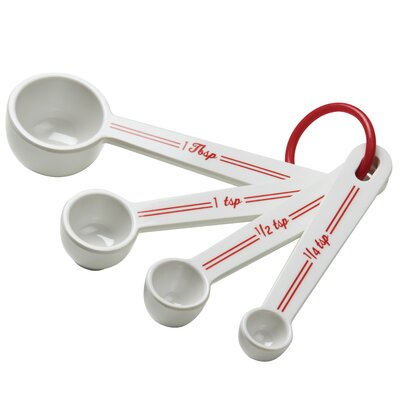 Cake Boss Countertop Accessories 4 Piece Melamine Measuring Spoon Set 54158