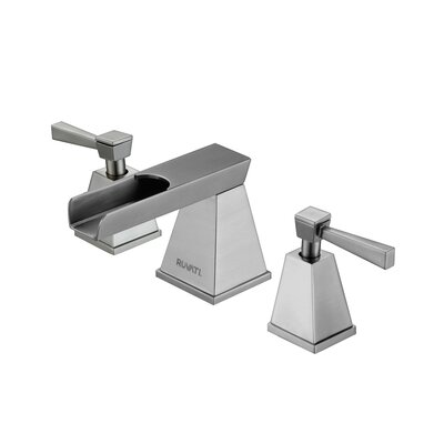 Waterfall Double Handle Widespread Bathroom Faucet Finish: Brushed Nickel