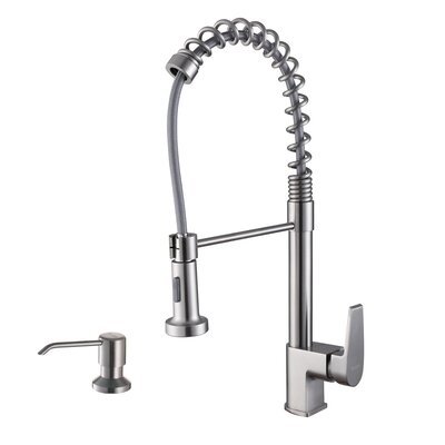 Cascada Single Handle Pull-Down Kitchen Faucet with Soap Dispenser Finish: Stainless Steel
