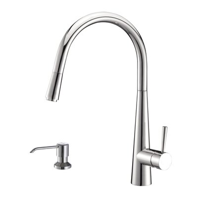 Cascada Single Handle Pull-Down Kitchen Faucet with Soap Dispenser Finish: Polished Chrome