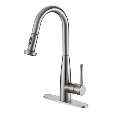 Turino Single Handle Kitchen Faucet with Pull Out Spray and Deck Plate