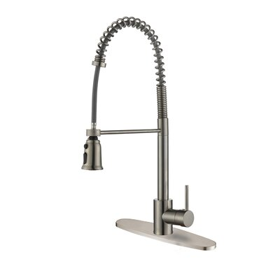 Cascada Kitchen Faucet with Deck Plate Finish: Stainless Steel