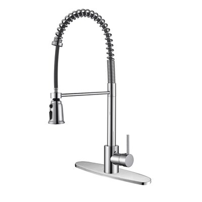 Cascada Kitchen Faucet with Deck Plate Finish: Polished Chrome