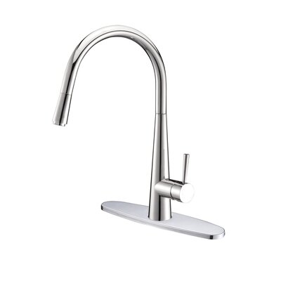 Amato Kitchen Faucet with Deck Plate Finish: Polished Chrome