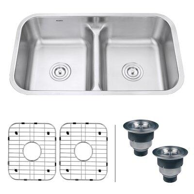 Parmi 32.25 x 18.89 Undermount Double Bowl Kitchen Sink