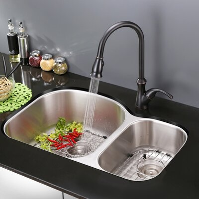 Varna 34 x 18.75 Undermount Double Bowl Kitchen Sink