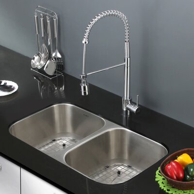 Parmi 33.25 x 18.5 Undermount Double Bowl Kitchen Sink