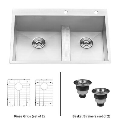 Tirana Low Wide-Divide 33 x 10 Double Basin Drop-In Kitchen Sink with Faucet
