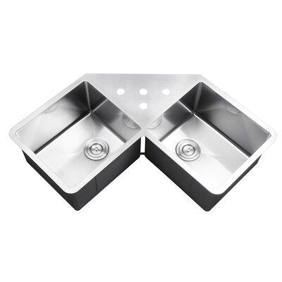 Gravena 43.75 x 23 Undermount Corner Double Bowl Kitchen Sink
