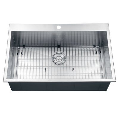 Tirana 33 x 21 Drop-in Single Bowl Kitchen Sink