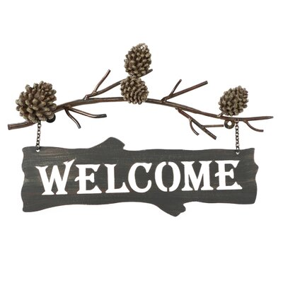 Woodland River Country Pine Cone Welcome Sign