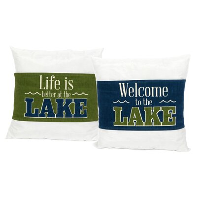 Lake Sayings Wrap Cotton Throw Pillow Set