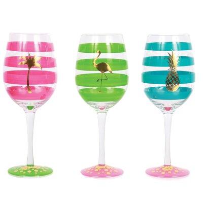 Tropical Fantasy 3 Piece 18 oz. Wine Glass Set 60464S6