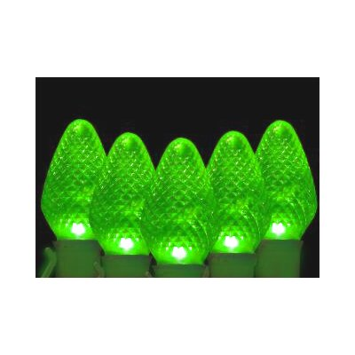 100 Faceted Transparent Christmas Light Color: Green