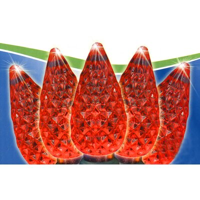 50 Faceted Christmas Light Color: Red