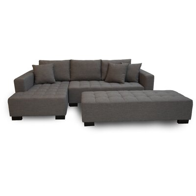 Fit Sectional with Ottoman Orientation: Right Arm Sofa, Upholstery: Light Gray